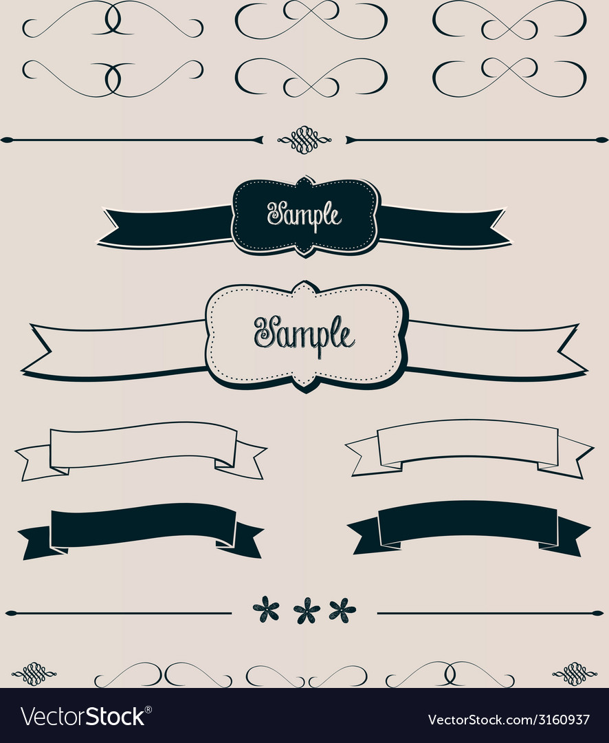 Ribbons frames and design elements vector | Price: 1 Credit (USD $1)