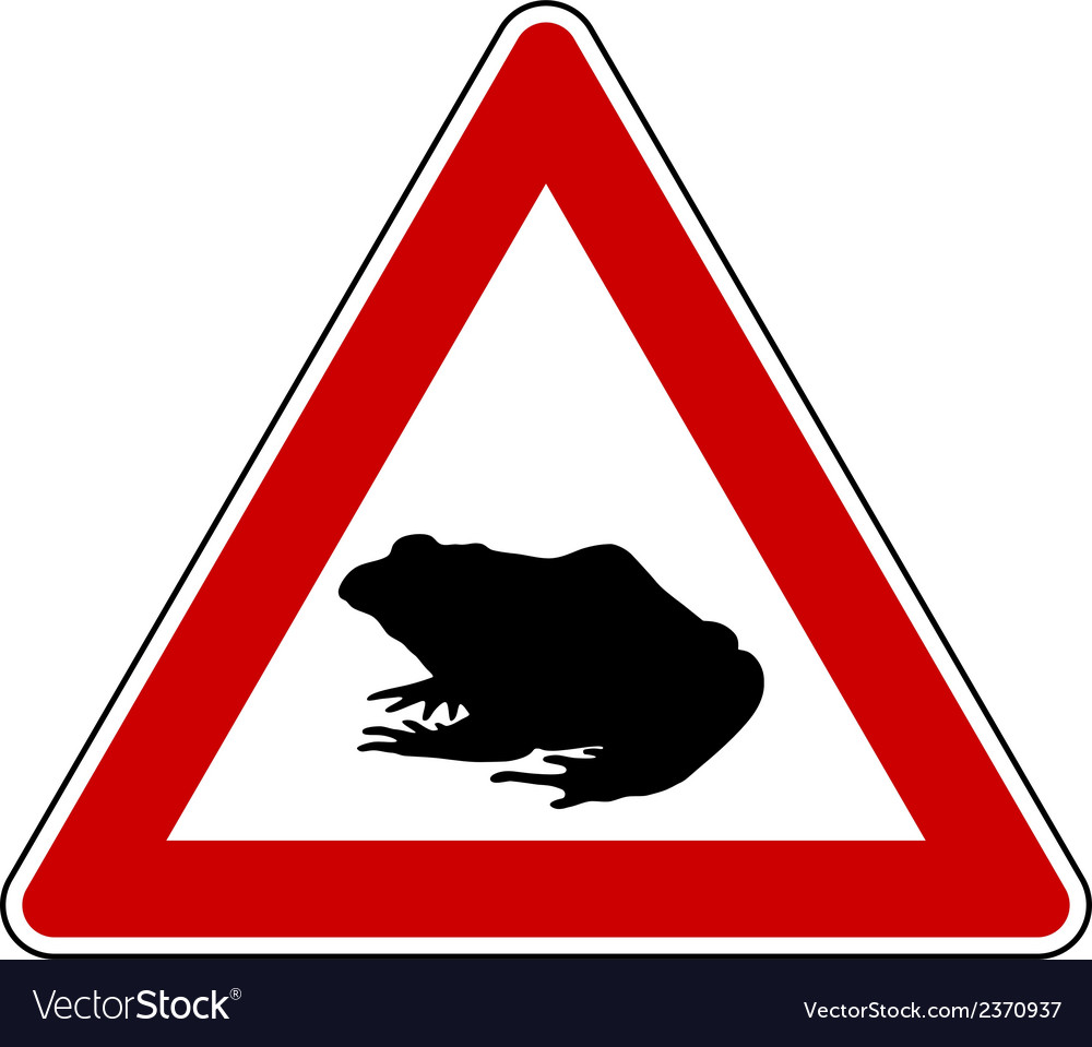 Toad migration warning sign vector | Price: 1 Credit (USD $1)