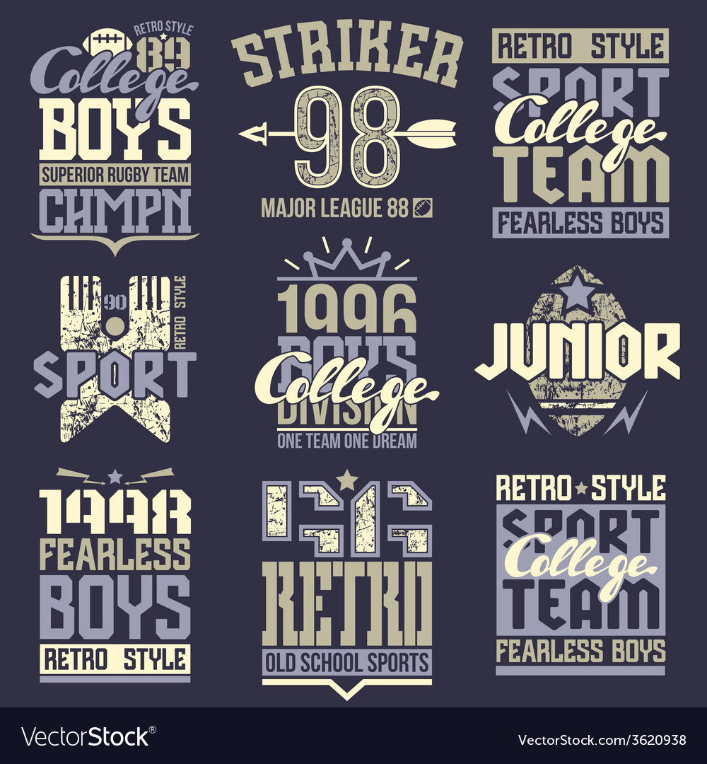 College rugby team emblems vector | Price: 1 Credit (USD $1)