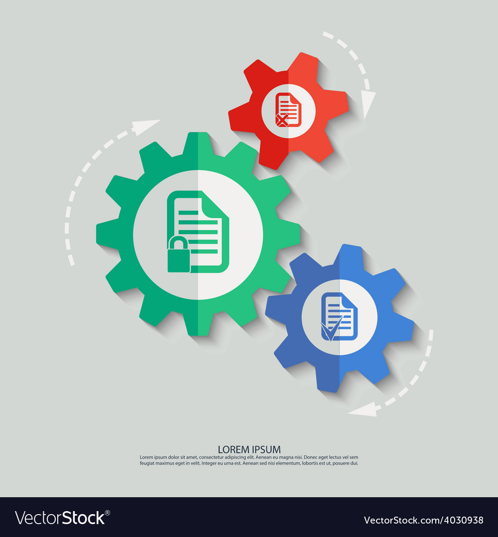 Color cogwheels with document icons vector | Price: 1 Credit (USD $1)
