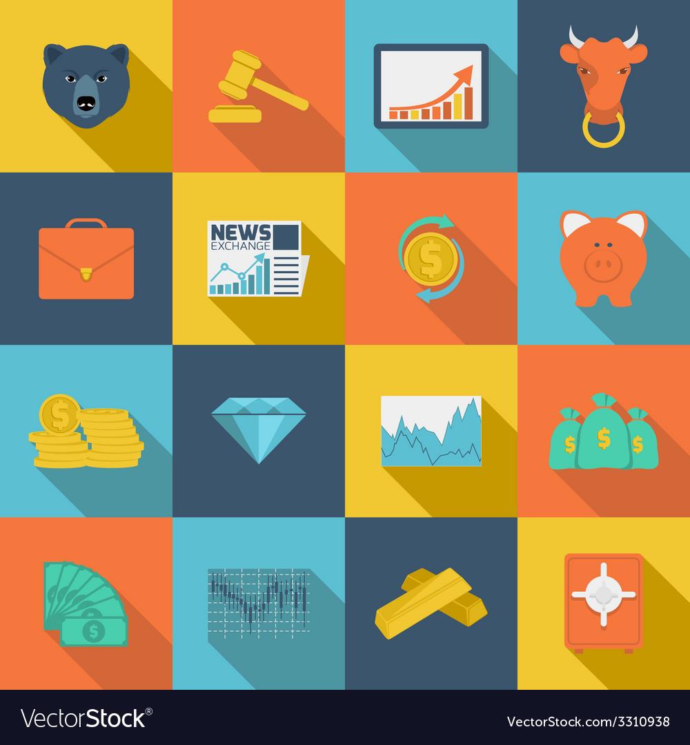 Finance exchange flat icons vector | Price: 1 Credit (USD $1)