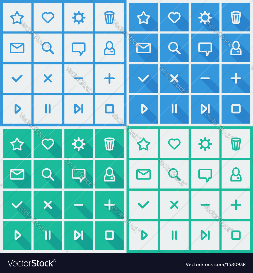 Flat ui design elements - set of basic web icons vector | Price: 3 Credit (USD $3)