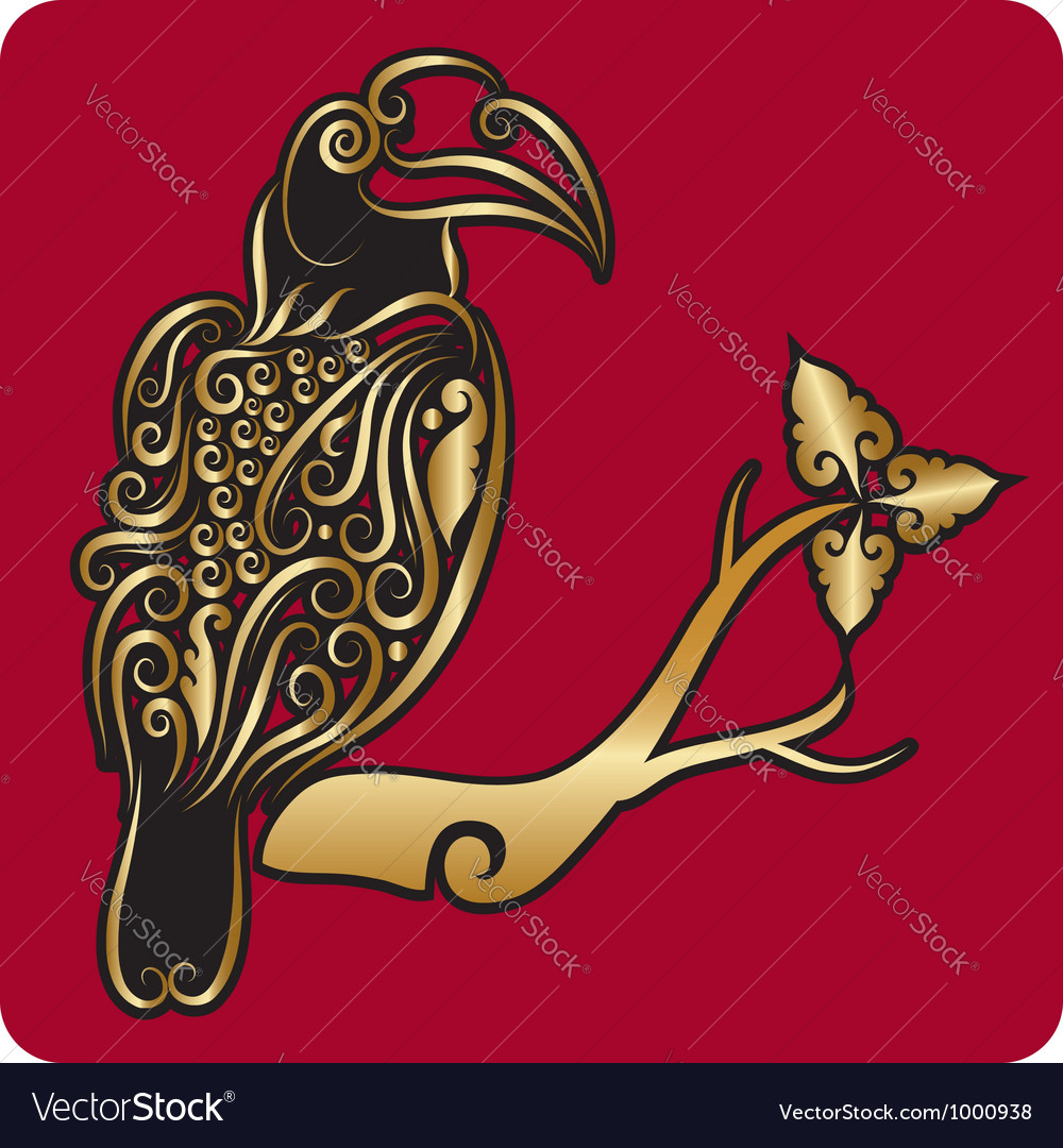 Golden bird ornament 2 vector | Price: 1 Credit (USD $1)