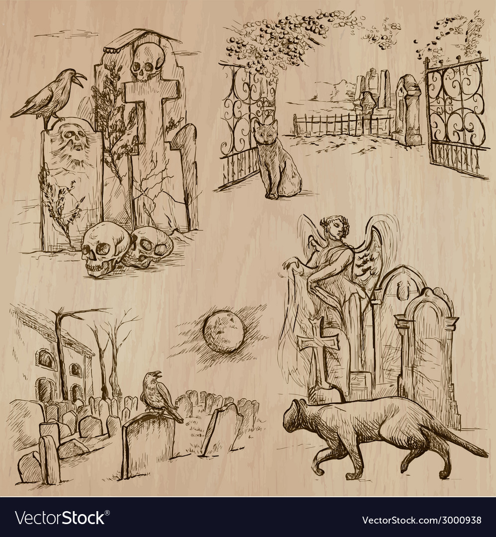Halloween cemeteries - an hand drawn pack vector | Price: 1 Credit (USD $1)