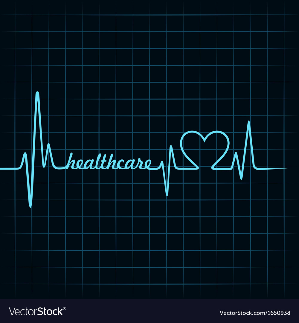 Heartbeat make a healthcare text and heart symbol vector | Price: 1 Credit (USD $1)