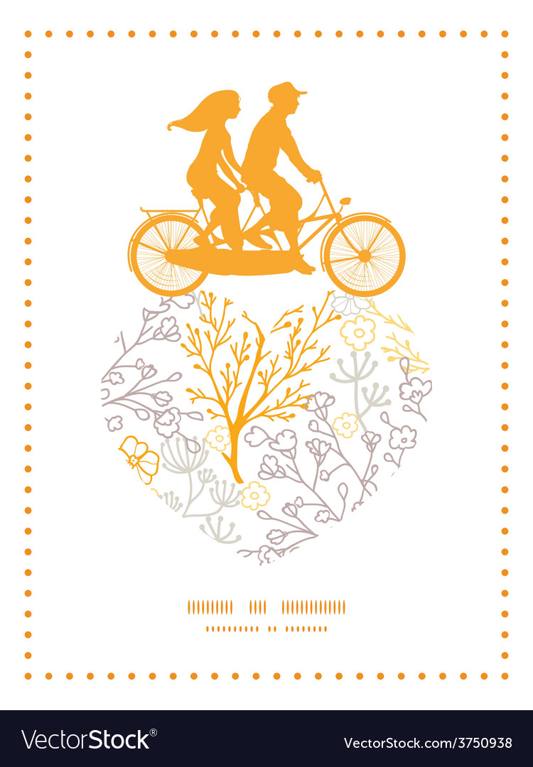 Magical floral couple on tandem bicycle vector | Price: 1 Credit (USD $1)