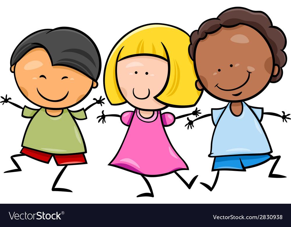 Multicultural children cartoon vector | Price: 1 Credit (USD $1)