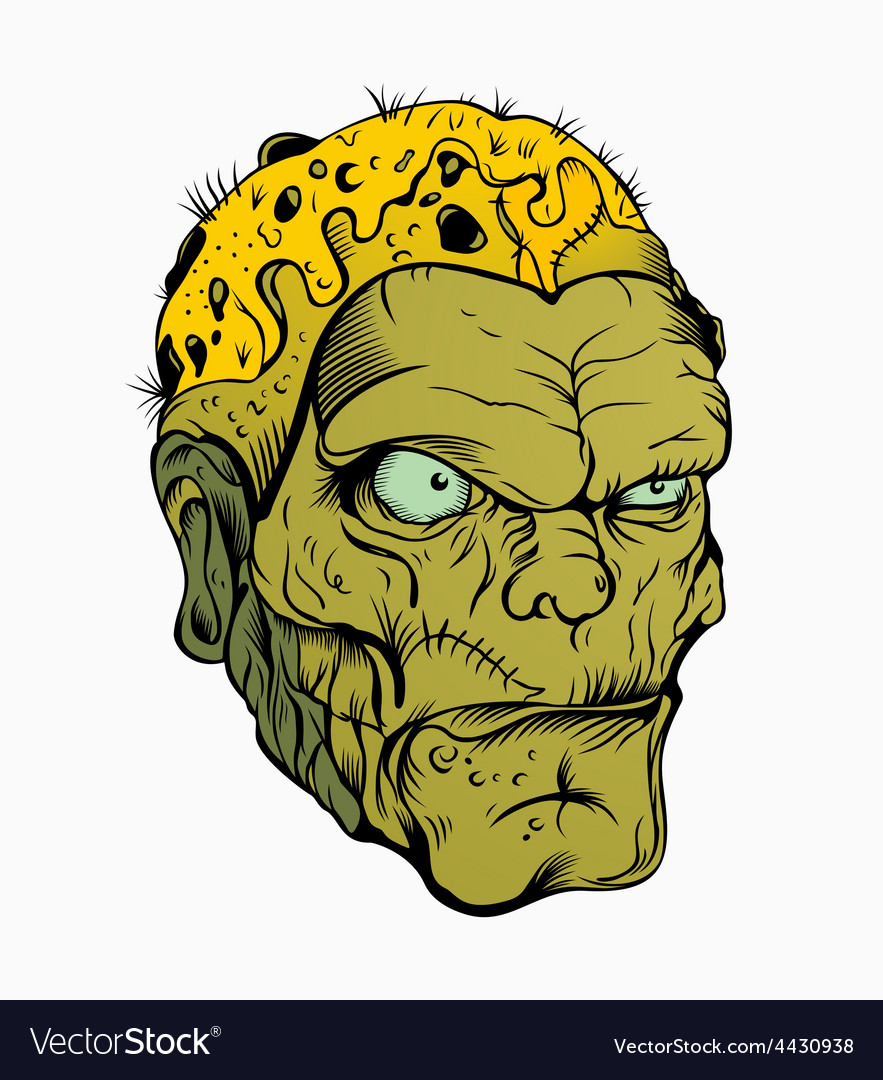 Picture of scary zombie head vector   Price: 3 Credit (USD $3)
