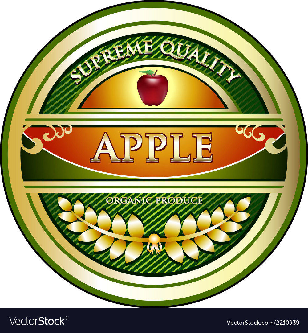 Apple vintage label vector | Price: 1 Credit (USD $1)