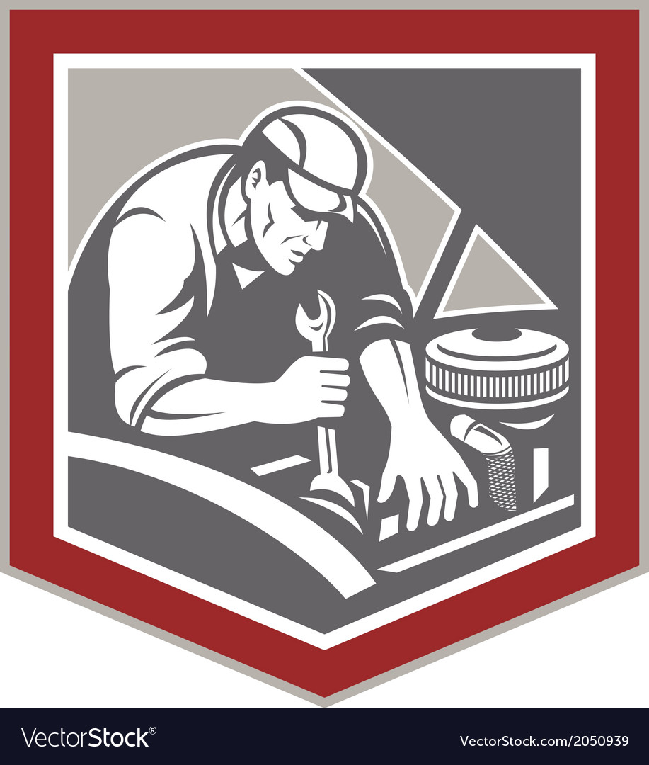 Car mechanic repair automobile shield retro vector | Price: 1 Credit (USD $1)
