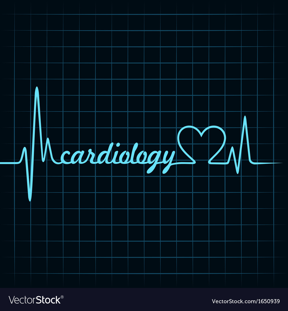 Heartbeat make a cardiology text and heart symbol vector | Price: 1 Credit (USD $1)