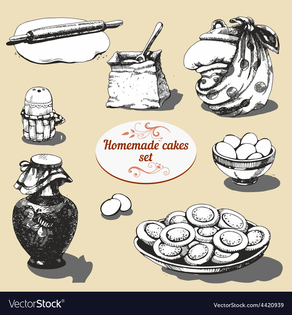 Homemade cakes set vector | Price: 1 Credit (USD $1)