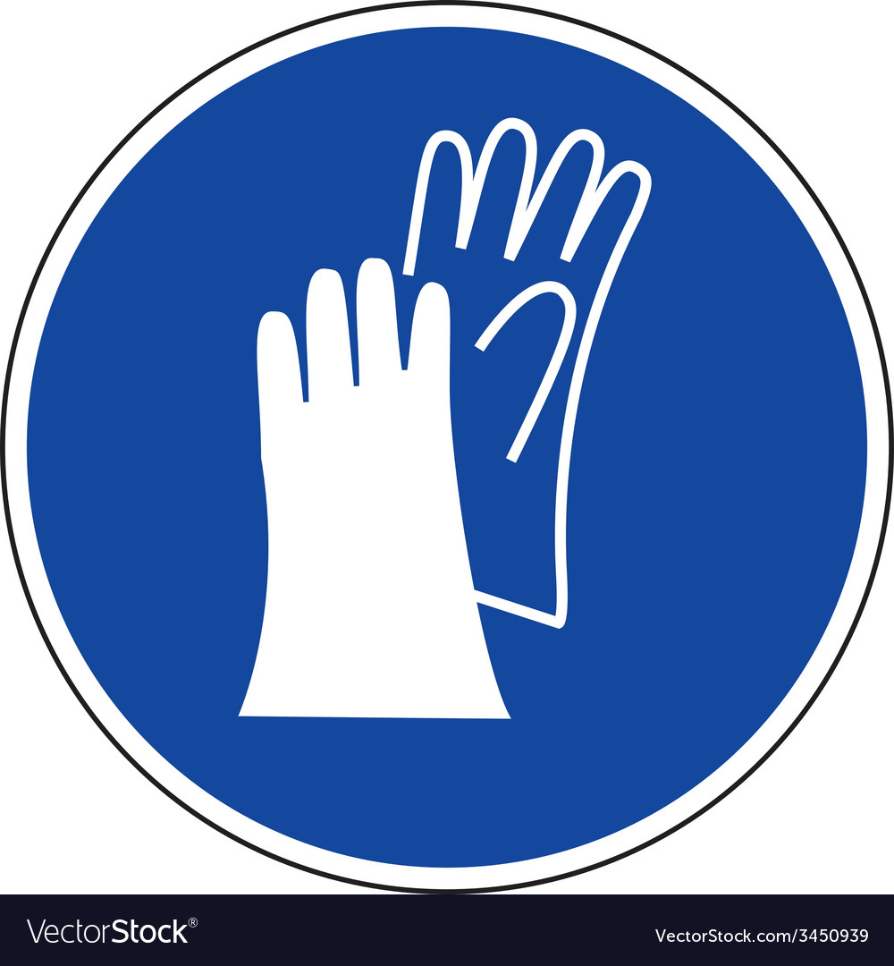 Protective gloves must be worn safety sign vector | Price: 1 Credit (USD $1)