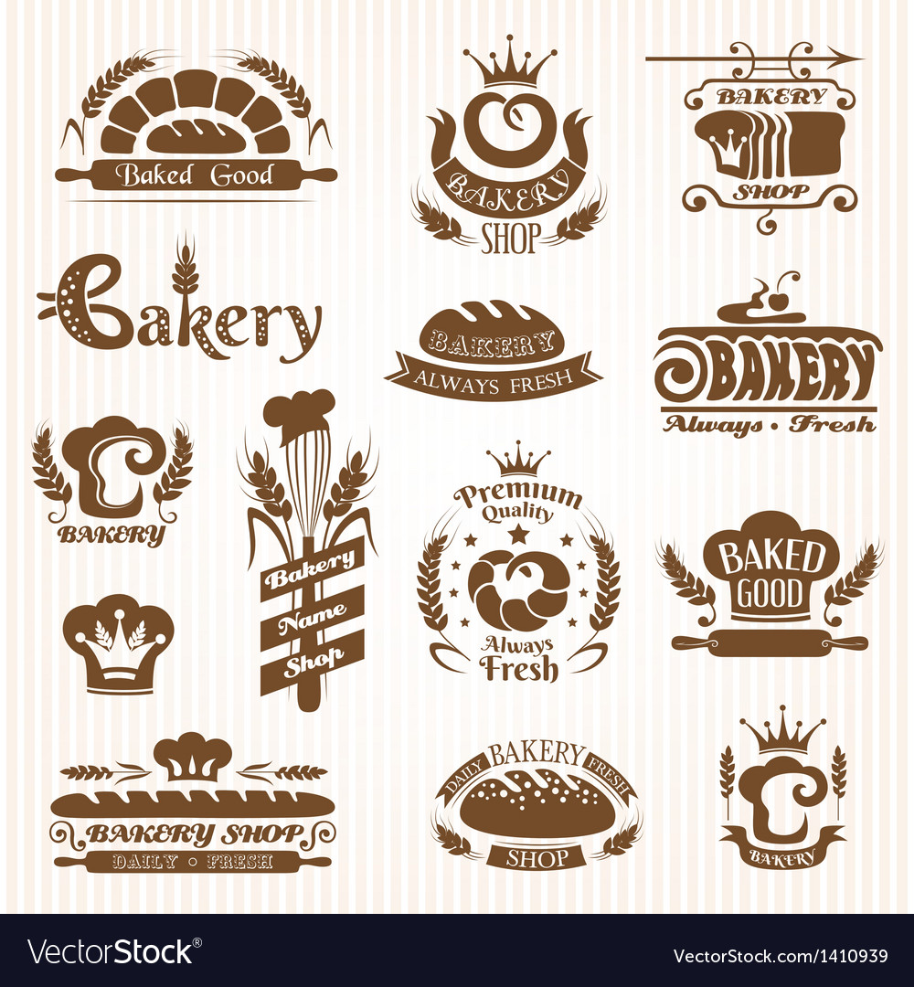 Set of bakery labels badges and design elements vector | Price: 3 Credit (USD $3)