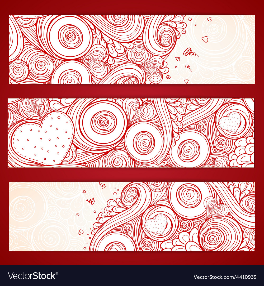 Set of hearts cards with doodles on ornate pattern vector