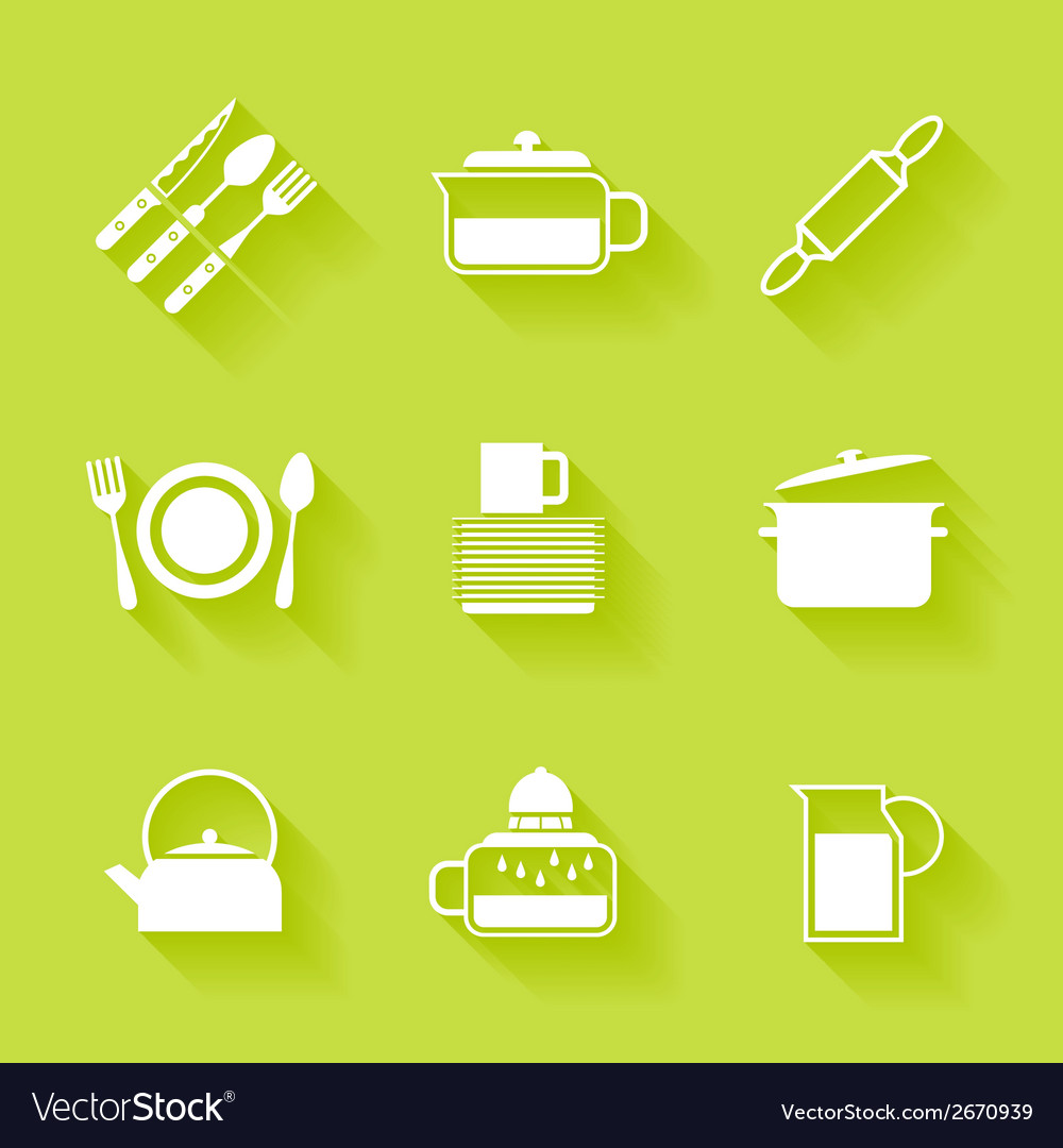 Set of white cutlery and dishes icons vector | Price: 1 Credit (USD $1)