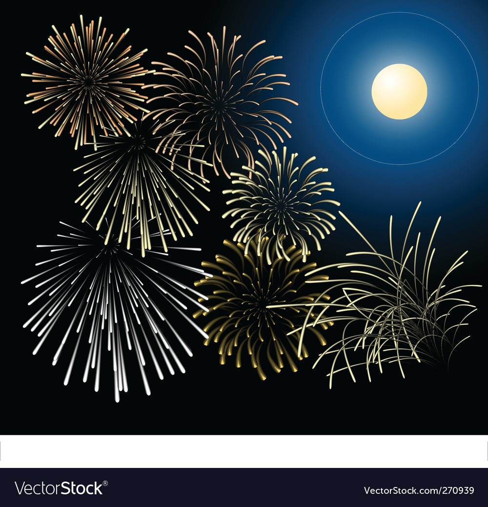 Silver and golden fireworks vector | Price: 1 Credit (USD $1)