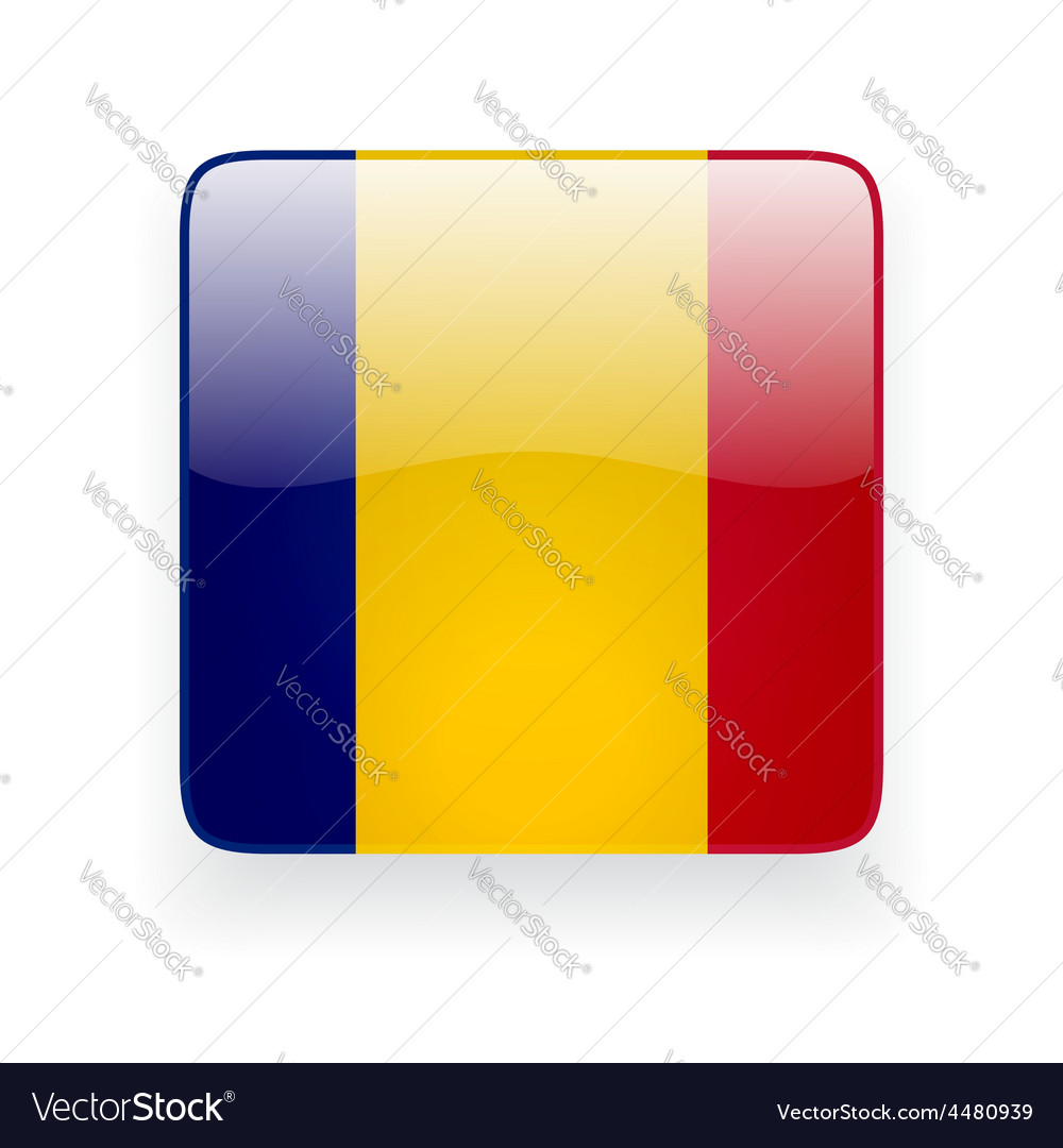 Square icon with flag of romania vector | Price: 1 Credit (USD $1)