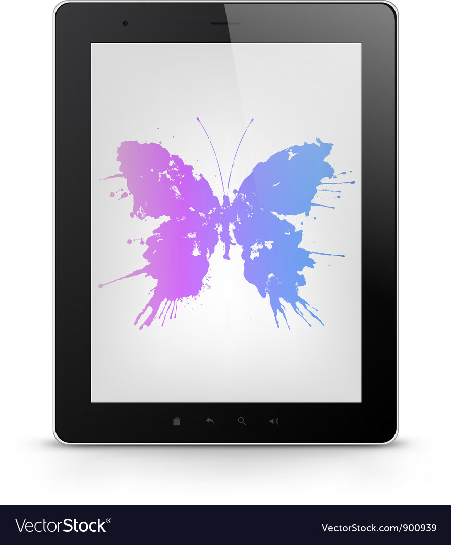 Tablet pc with butterfly grunge vector | Price: 1 Credit (USD $1)