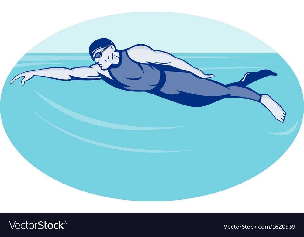 Triathlon athlete swimming freestyle side vector | Price: 1 Credit (USD $1)