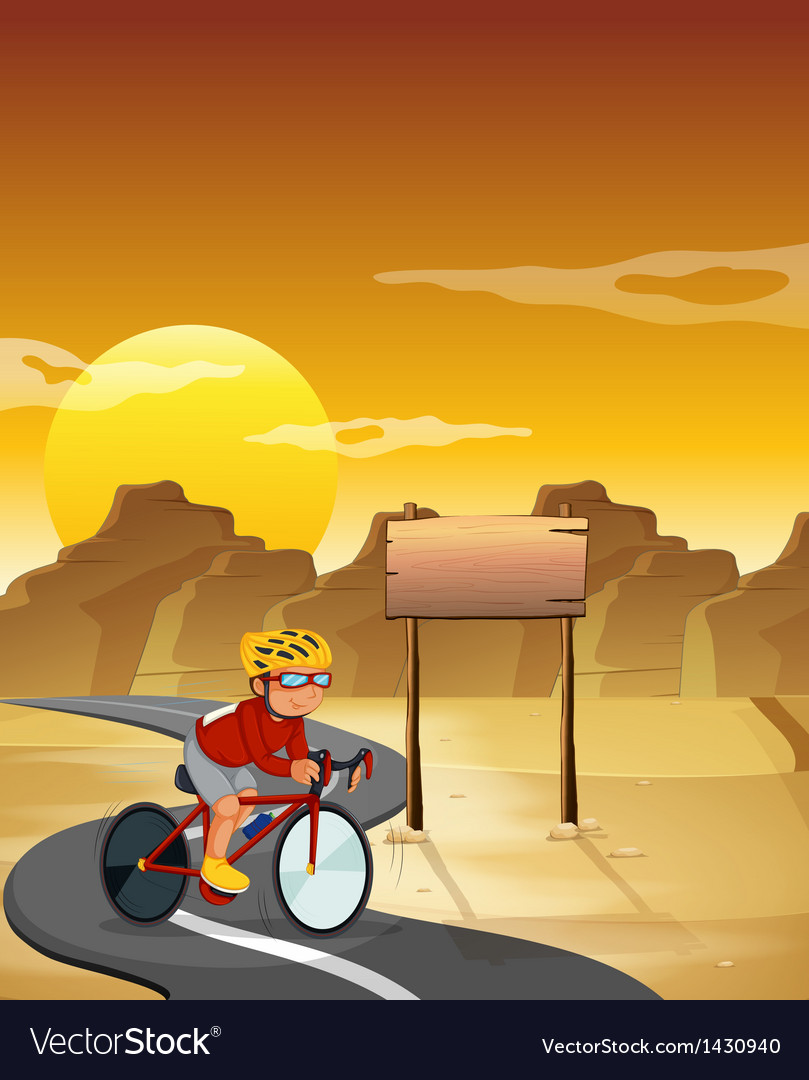 A biker at the desert with an empty signboard vector | Price: 1 Credit (USD $1)