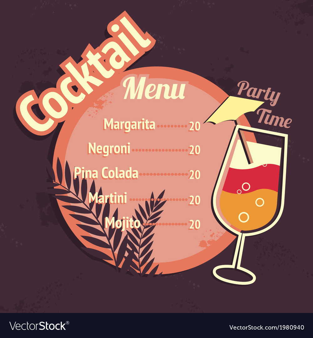 Alcohol cocktails drink menu card template vector | Price: 1 Credit (USD $1)