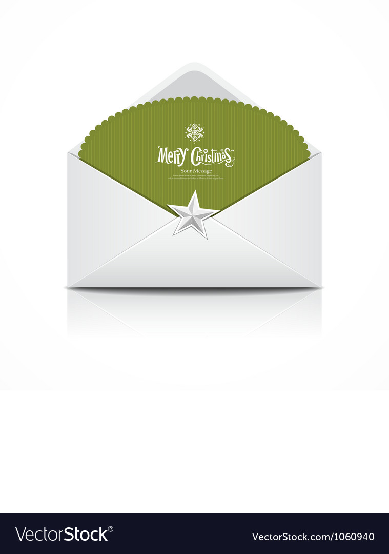Envelope and green card merry christmas isolated vector | Price: 1 Credit (USD $1)