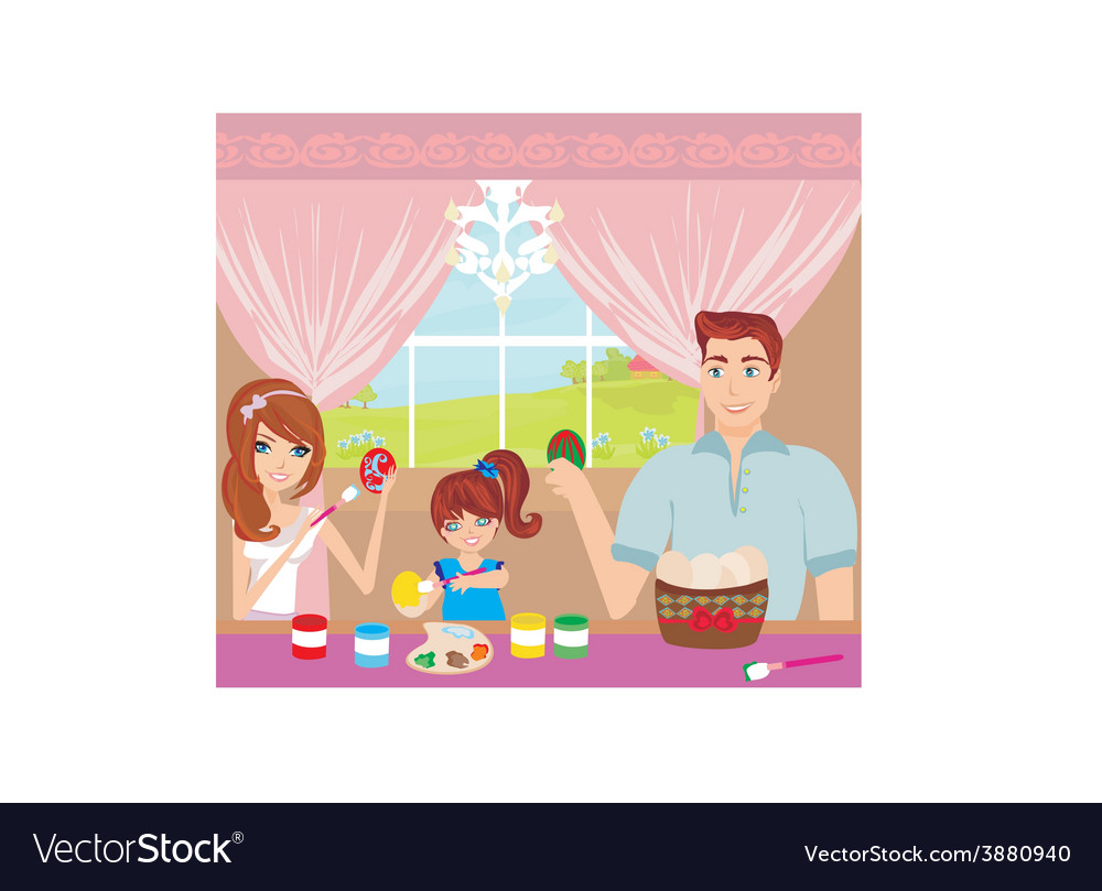 Family painting easter eggs vector | Price: 1 Credit (USD $1)