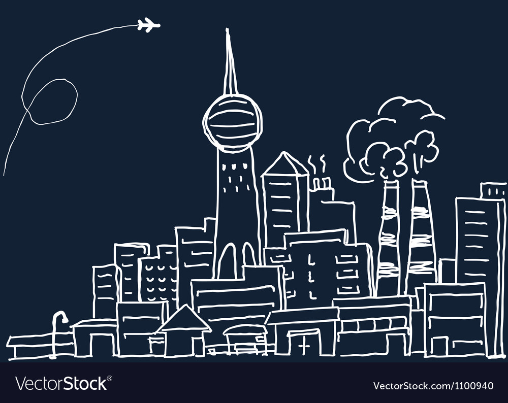 Hand-drawn modern city sketch vector | Price: 1 Credit (USD $1)