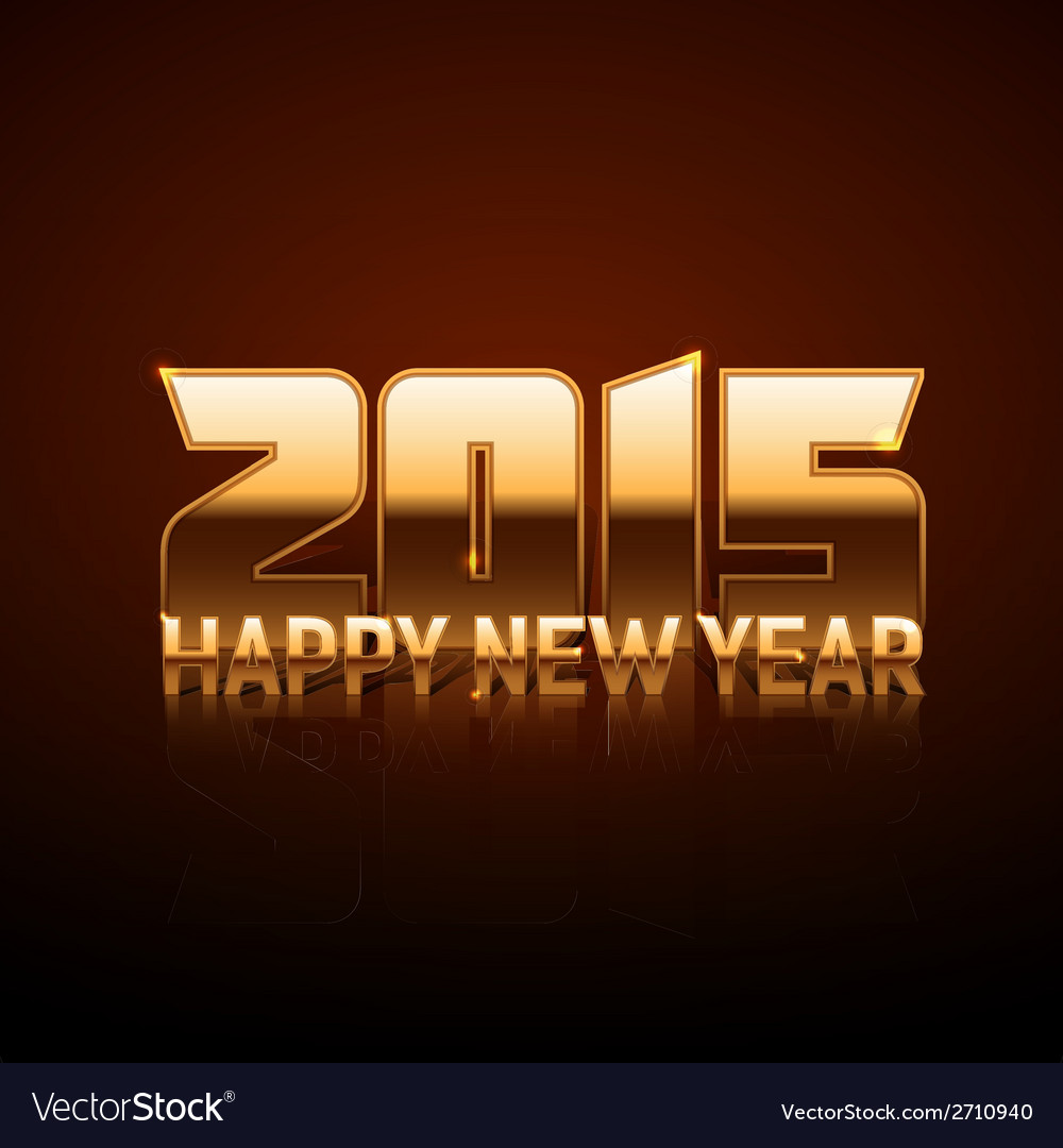 Happy new year 2015 - gold style vector | Price: 1 Credit (USD $1)