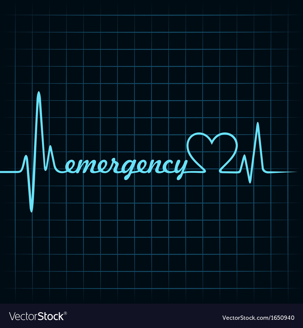 Heartbeat make a emergency text and heart symbol vector   Price: 1 Credit (USD $1)