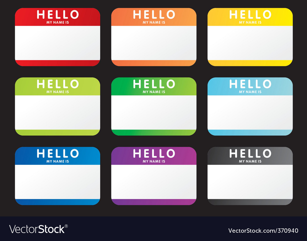 Hello name tags vector | Price: 1 Credit (USD $1)