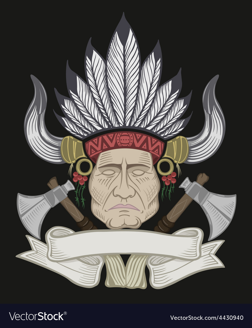 The indian chief with a tomahawk vector   Price: 3 Credit (USD $3)