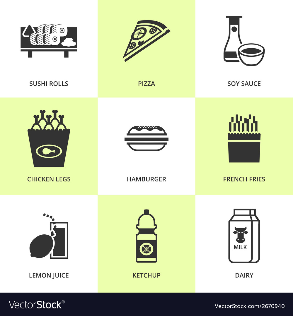 Set of black grocery and food icons vector | Price: 1 Credit (USD $1)