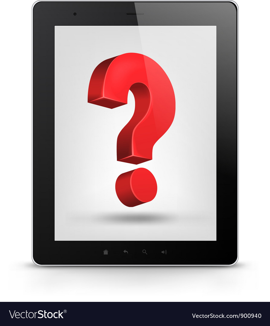 Tablet pc with question mark vector | Price: 1 Credit (USD $1)
