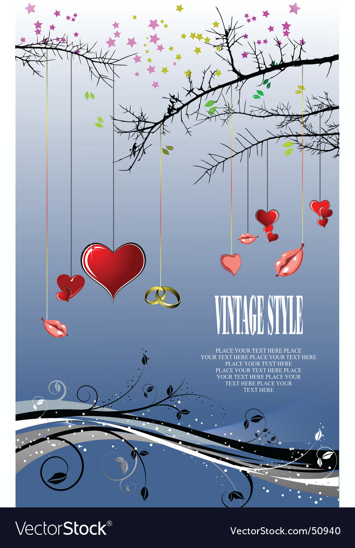 Valentines day tree vector | Price: 1 Credit (USD $1)