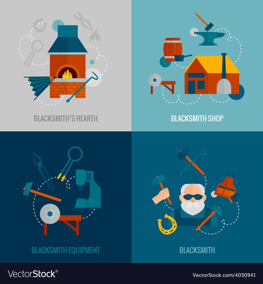 Blacksmith flat set vector | Price: 1 Credit (USD $1)