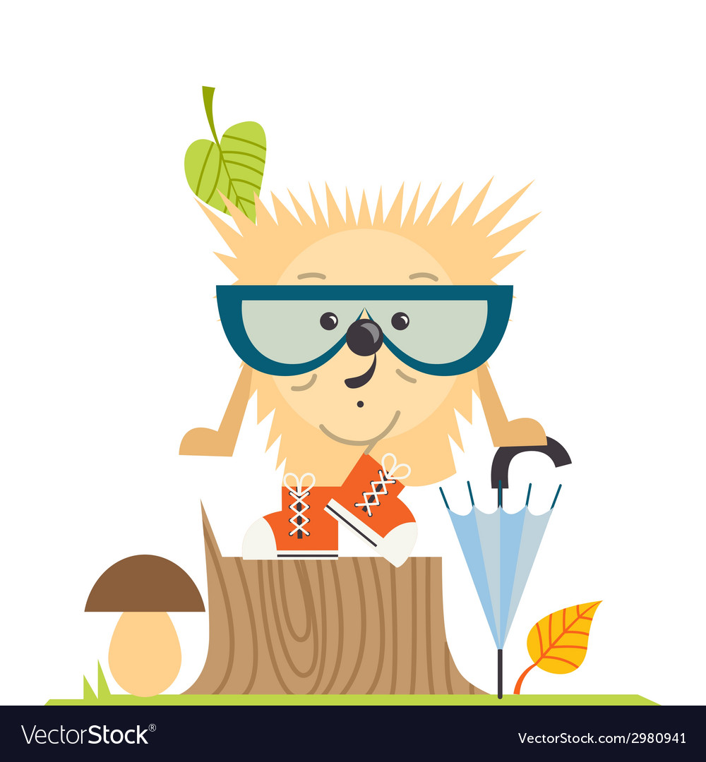 Cartoon hedgehog hipster style vector | Price: 1 Credit (USD $1)