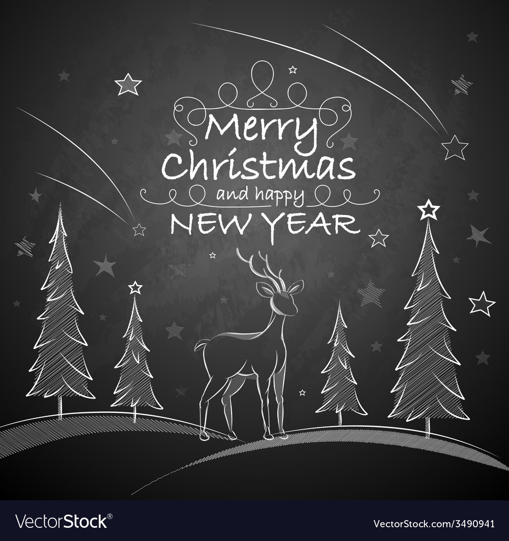 Christmas background with deer vector | Price: 1 Credit (USD $1)