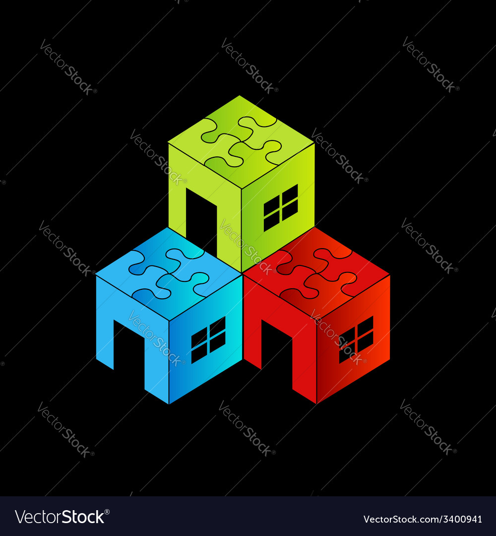 Colorful logo for real estate market with a puzzl vector | Price: 1 Credit (USD $1)