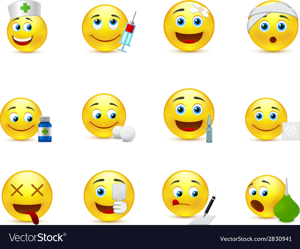Funny smileys set to the medical thematics vector | Price: 1 Credit (USD $1)