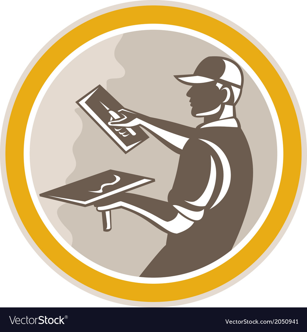 Plasterer masonry worker trowel retro vector | Price: 1 Credit (USD $1)