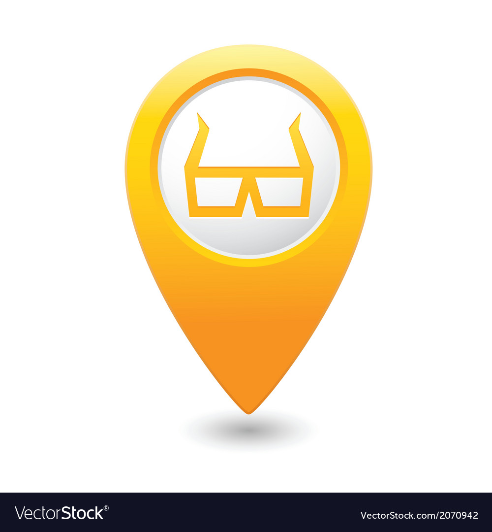 3d cinema glasses icon yellow pointer vector | Price: 1 Credit (USD $1)