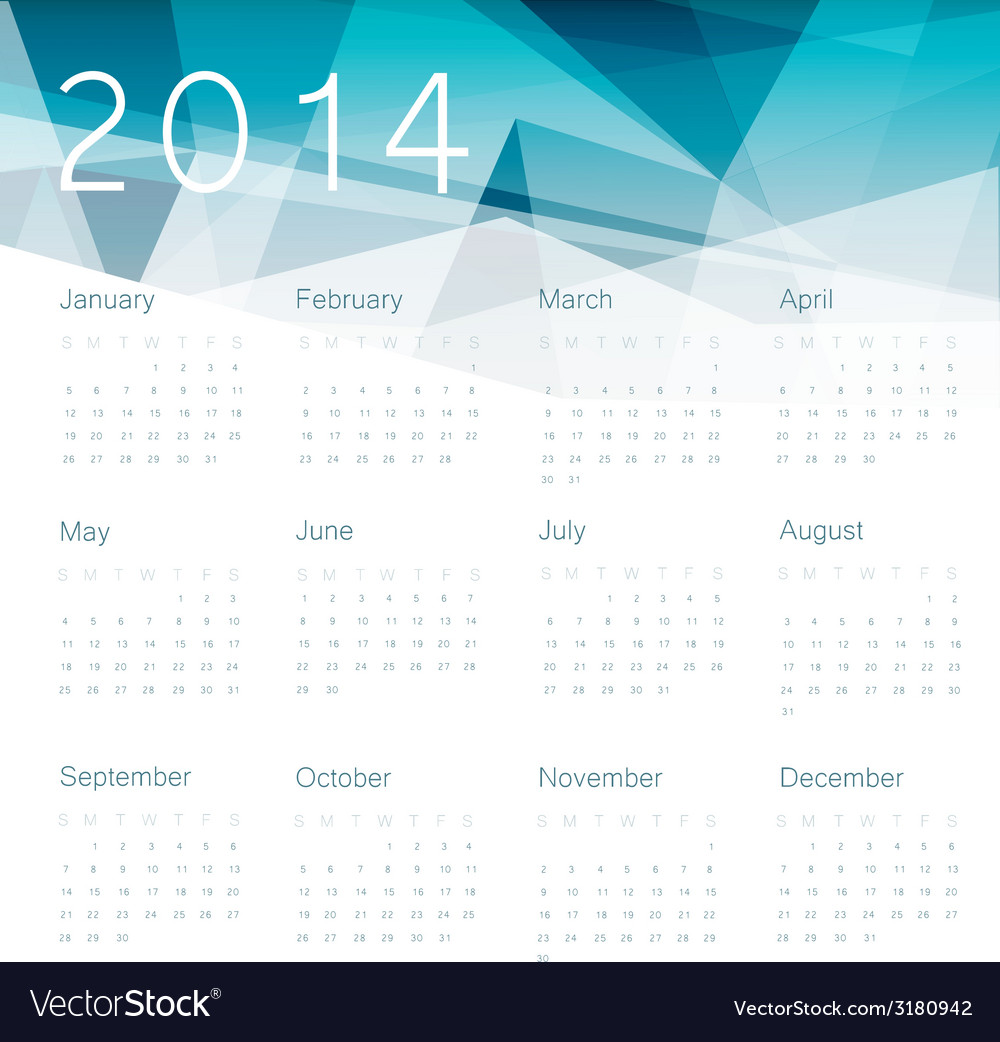 Abstract calendar 2014 vector | Price: 1 Credit (USD $1)