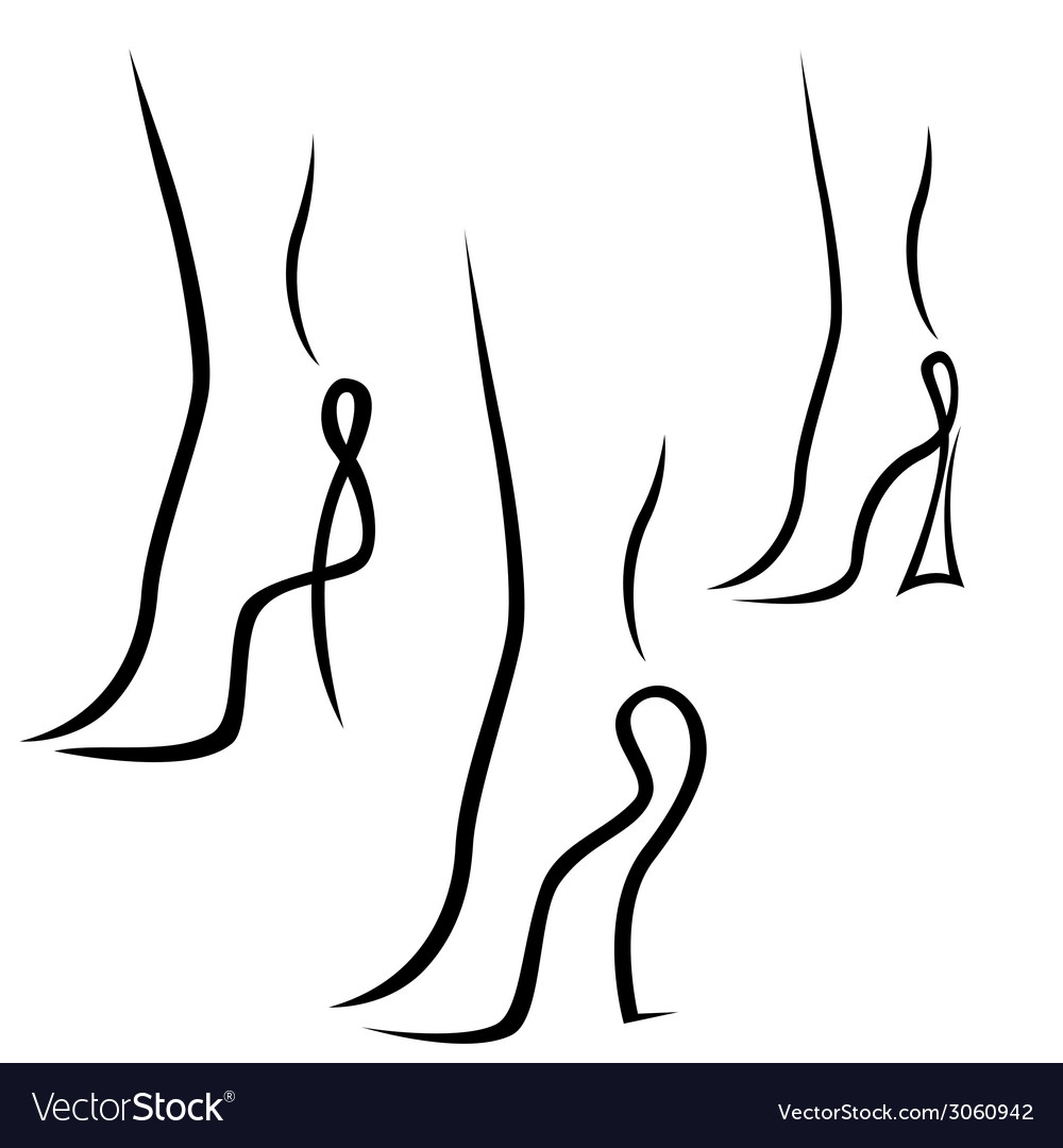 Abstract samples of graceful female feet vector | Price: 1 Credit (USD $1)