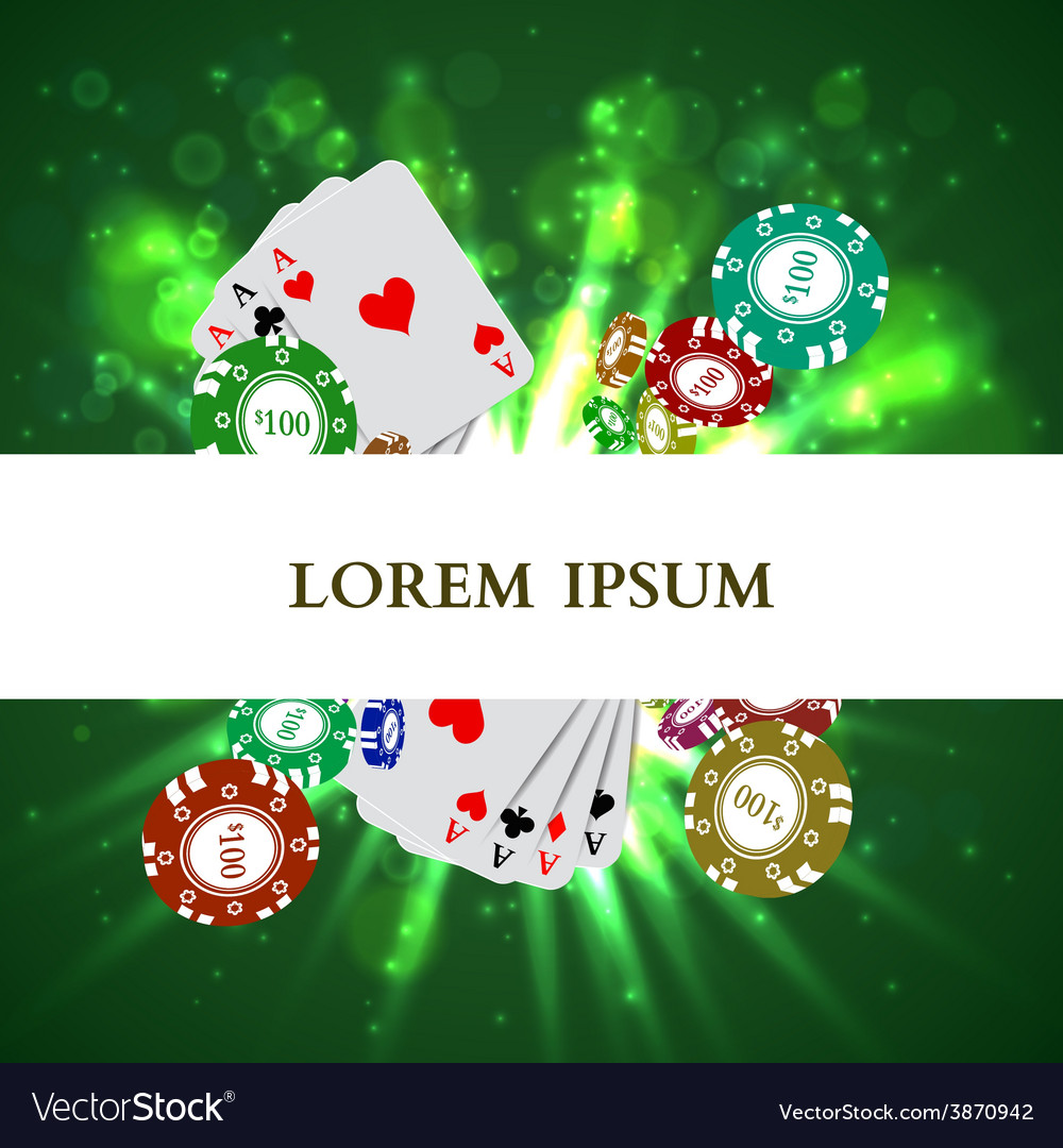 Casino roulette playing cards witn falling chips vector | Price: 1 Credit (USD $1)