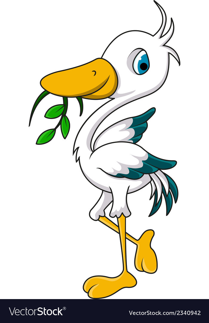 Cute heron cartoon eating grass vector | Price: 1 Credit (USD $1)