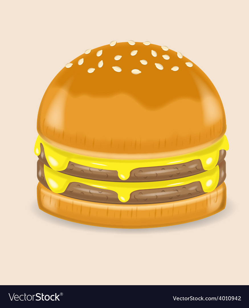 Double cheese poke hamburger vector | Price: 1 Credit (USD $1)