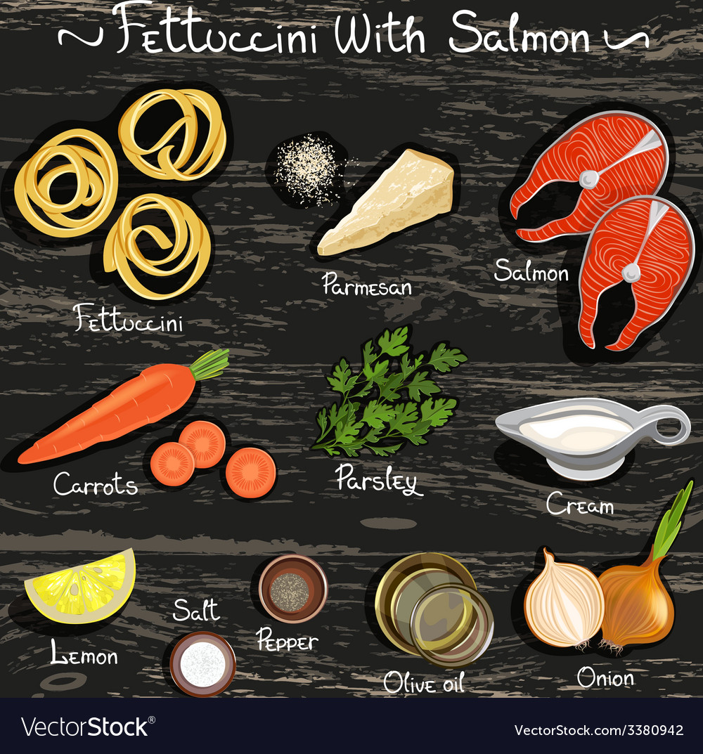Fettuccin with salmon vector | Price: 1 Credit (USD $1)