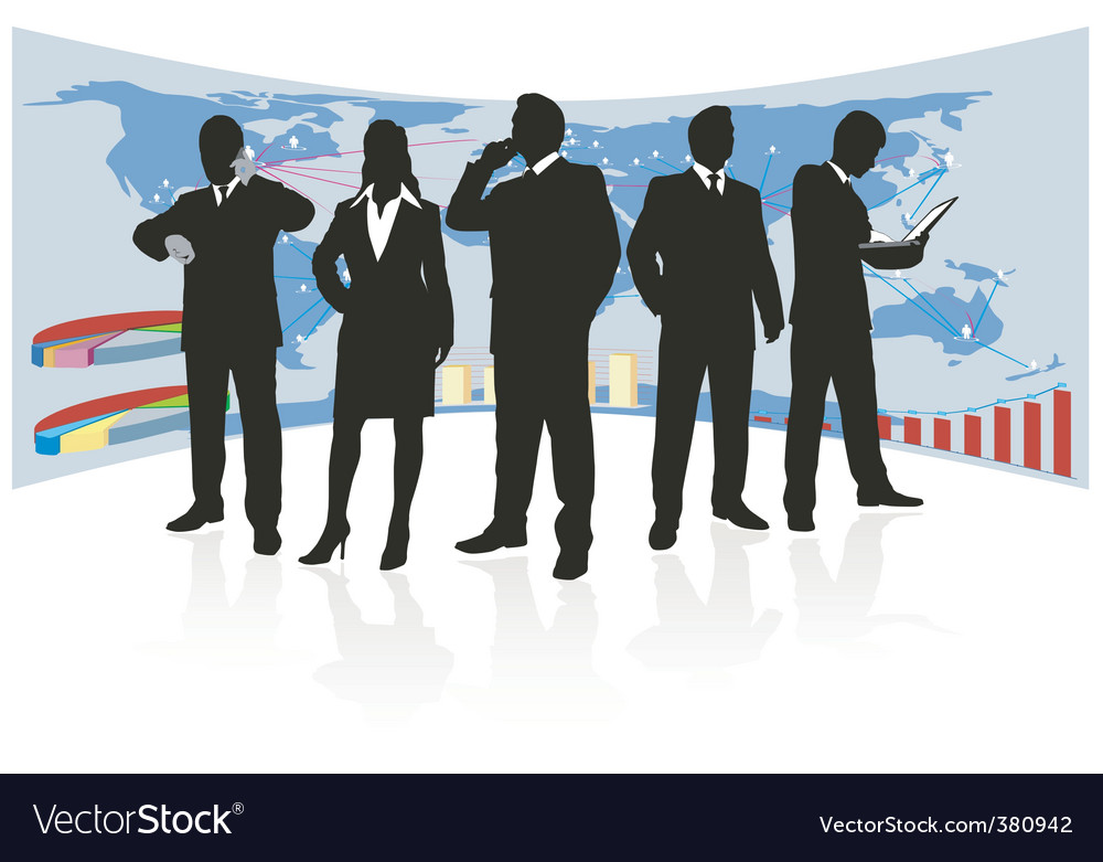 Global business team silhouette vector | Price: 1 Credit (USD $1)